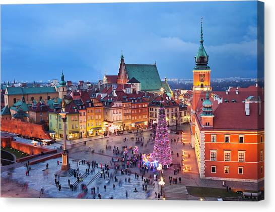 Old Town In Warsaw At Night Canvas Print