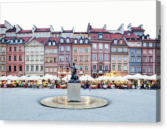 Old Town Market Place At Dusk Canvas Print by Jorg Greuel