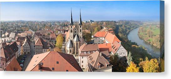 House Of Worship Canvas Print - Old Town Viewed From Blue Tower, Bad by Panoramic Images