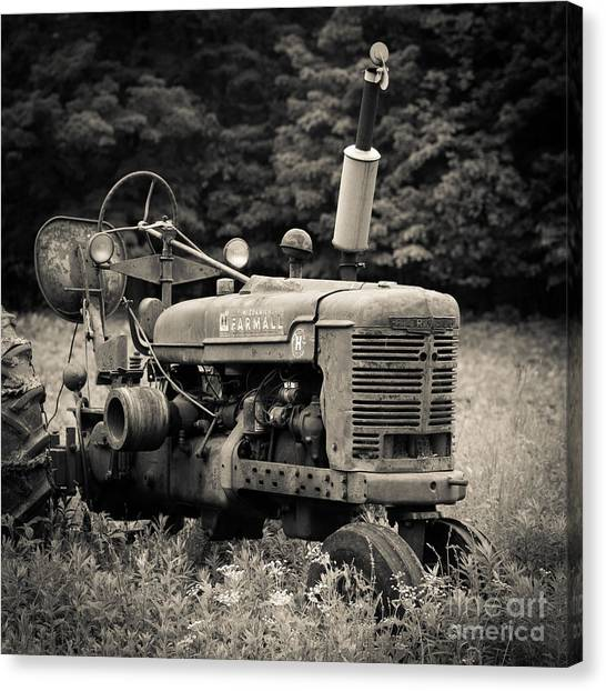 Pasture Scenes Canvas Print - Old Tractor Black And White Square by Edward Fielding