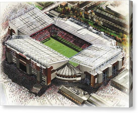 Soccer Teams Canvas Print - Old Trafford - Manchester United by Kevin Fletcher
