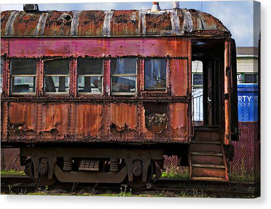 Stock Cars Canvas Print - Old Train Car by Garry Gay