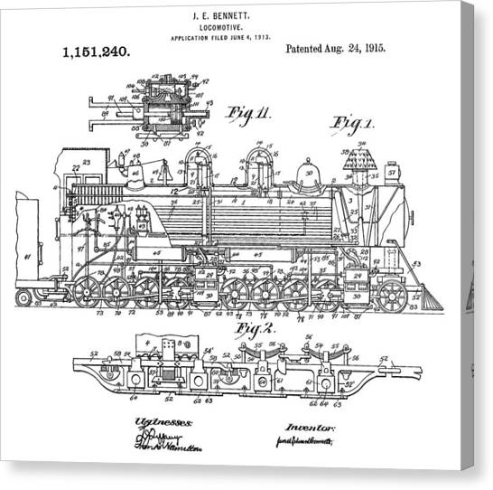Train Conductor Canvas Print - Old Train Patent by Dan Sproul