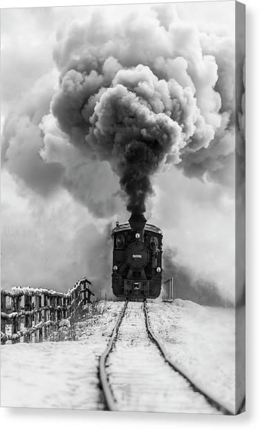 Vintage Railroad Canvas Print - Old Train by Sveduneac Dorin Lucian