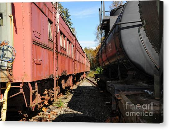 Old Train Wagons At Ease Canvas Print by Malu Couttolenc