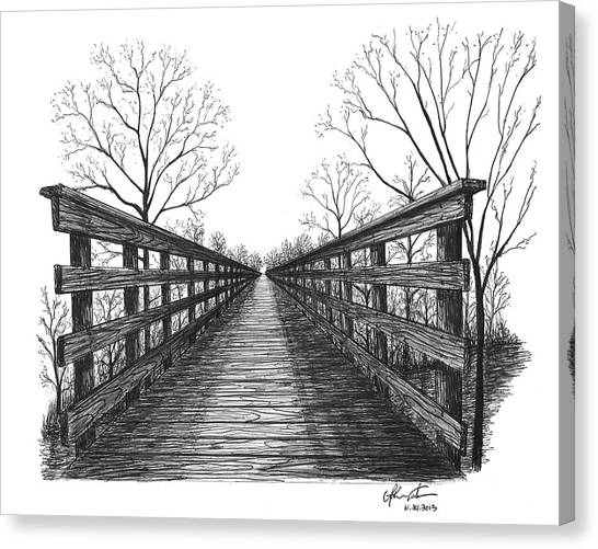Ballpoint Pens Canvas Print - Old Trestle Bridge Trail by Adam Vereecke