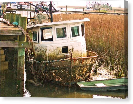 Old Tugboat By Jan Marvin Canvas Print