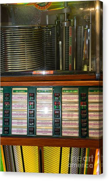 Jukebox Canvas Print - Old Vintage Rock Ola Jukebox Dsc2754 by Wingsdomain Art and Photography