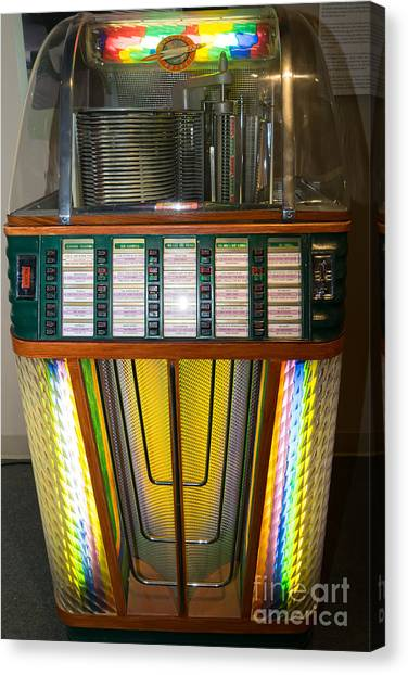 Jukebox Canvas Print - Old Vintage Rock Ola Jukebox Dsc2755 by Wingsdomain Art and Photography