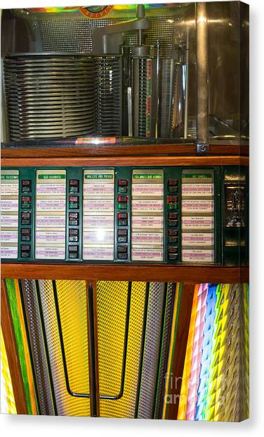 Jukebox Canvas Print - Old Vintage Rock Ola Jukebox Dsc2756 by Wingsdomain Art and Photography