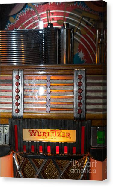 Jukebox Canvas Print - Old Vintage Wurlitzer Jukebox Dsc2705 by Wingsdomain Art and Photography