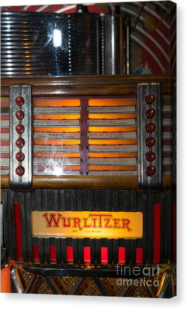 Jukebox Canvas Print - Old Vintage Wurlitzer Jukebox Dsc2706 by Wingsdomain Art and Photography