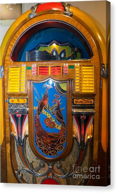Jukebox Canvas Print - Old Vintage Wurlitzer Jukebox Dsc2778 by Wingsdomain Art and Photography