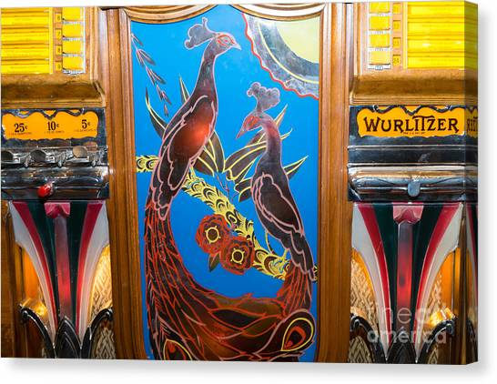 Jukebox Canvas Print - Old Vintage Wurlitzer Jukebox Dsc2781 by Wingsdomain Art and Photography
