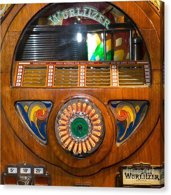 Jukebox Canvas Print - Old Vintage Wurlitzer Jukebox Dsc2824 Square by Wingsdomain Art and Photography