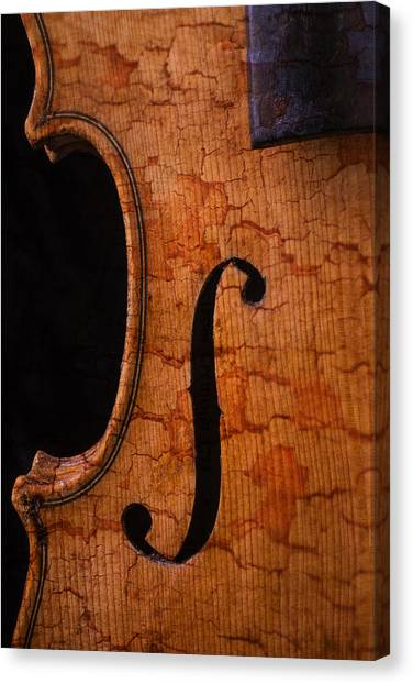 Fiddling Canvas Print - Old Violin Close Up by Garry Gay
