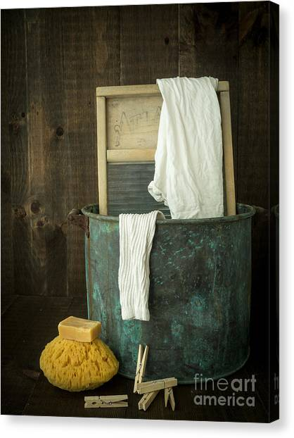 Plaid Canvas Print - Old Washboard Laundry Days by Edward Fielding