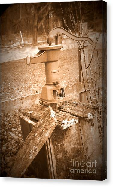 Old Water Pump Sepia Canvas Print