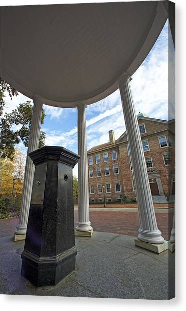 University Of North Carolina Chapel Hill Canvas Print - Old Well And South Building - Blue Heaven Under The Dome by Matt Plyler