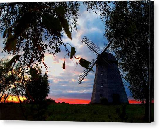Old Windmill In The Evening Canvas Print by Juozas Mazonas