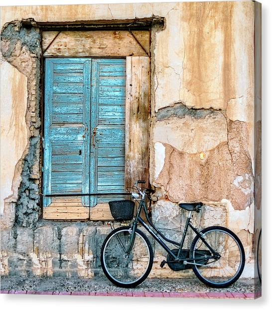 Urban Decay Canvas Print - Old Window And Bicycle by George Digalakis