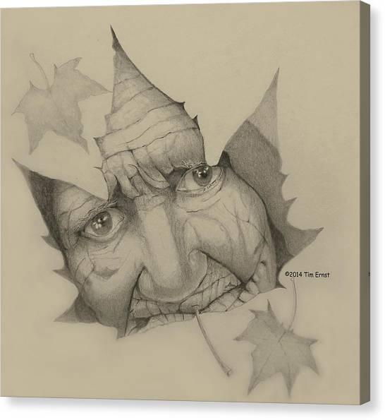 Old Woman Leaf  Canvas Print