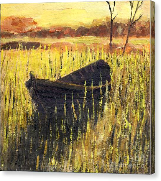 Old Wooden Boat In The Reeds  Canvas Print