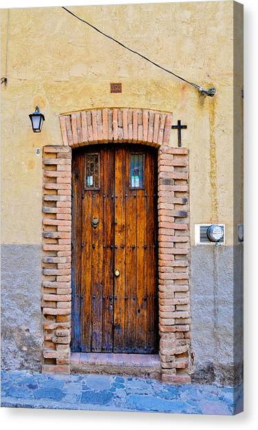 Old Wooden Door - Mexico - Photograph By David Perry Lawrence Canvas Print