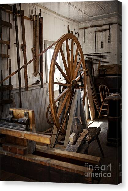 Old Wooden Treadle Lathe And Tools Canvas Print