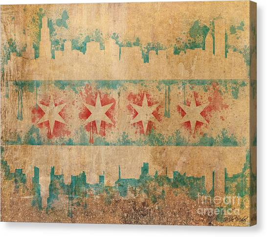 Vintage Chicago Canvas Print - Old World Chicago Flag by Mike Maher