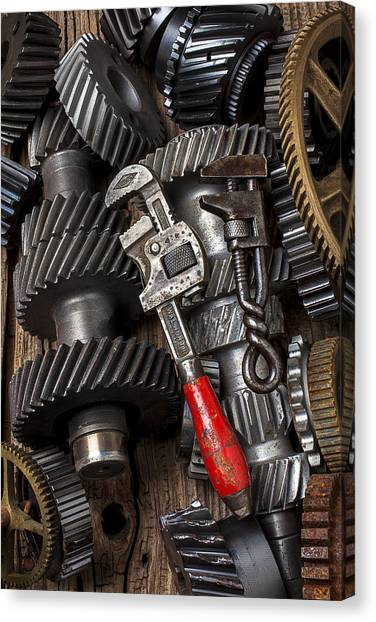 Wrenches Canvas Print - Old Wrenches On Gears by Garry Gay
