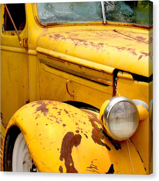 Transportation Canvas Print - Old Yellow Truck by Art Block Collections