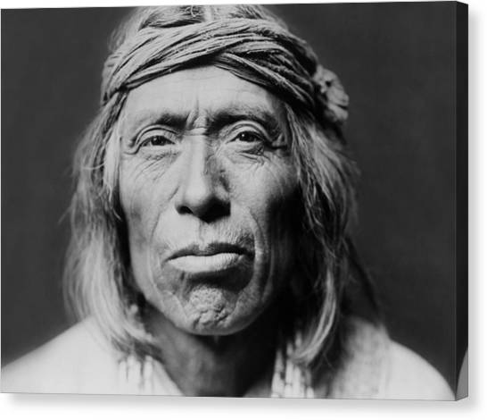 Portraits Canvas Print - Old Zuni Man Circa 1903 by Aged Pixel