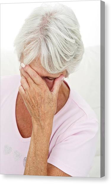 Psychology Canvas Print - Older Lady With Headache by Lea Paterson