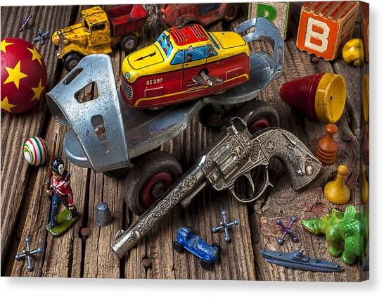 Roller Skating Canvas Print - Older Roller Skate And Toys by Garry Gay