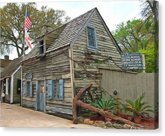 Oldest Wood School House In The Usa Canvas Print