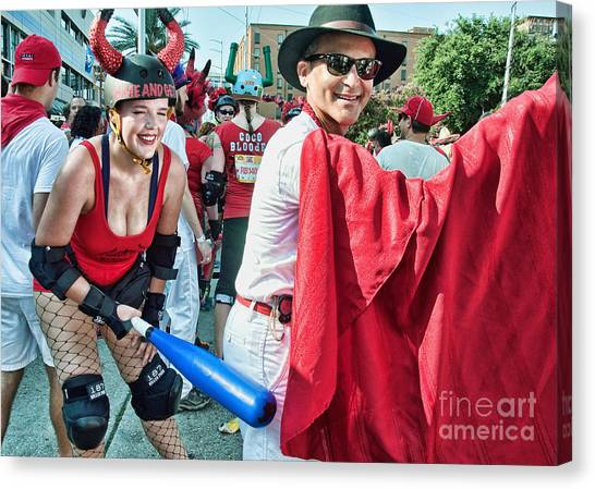Rollerblading Canvas Print - Ole At The Running Of The Bulls In New Orleans by Kathleen K Parker
