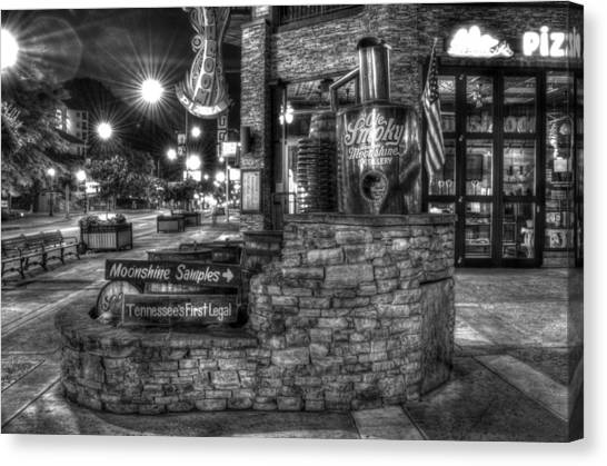 Gatlinburg Tennessee Canvas Print - Ole Smoky Tennessee Moonshine In Black And White by Greg and Chrystal Mimbs