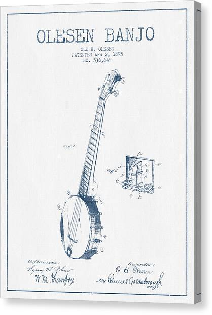 Banjos Canvas Print - Olesen Banjo Patent Drawing From 1895 - Blue Ink by Aged Pixel