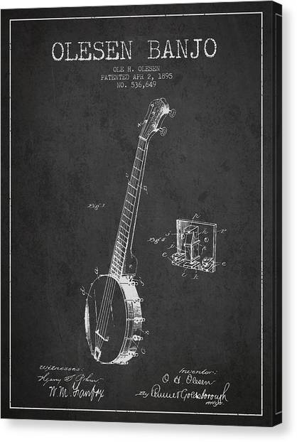 Banjos Canvas Print - Olesen Banjo Patent Drawing From 1895 - Dark by Aged Pixel