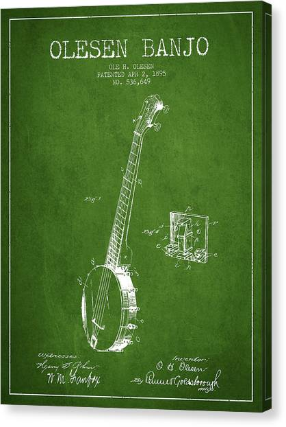 Banjos Canvas Print - Olesen Banjo Patent Drawing From 1895 - Green by Aged Pixel