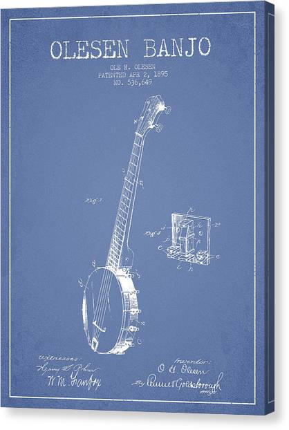 Banjos Canvas Print - Olesen Banjo Patent Drawing From 1895 -light Blue by Aged Pixel