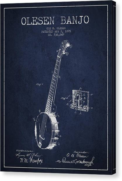 Banjos Canvas Print - Olesen Banjo Patent Drawing From 1895 - Navy Blue by Aged Pixel