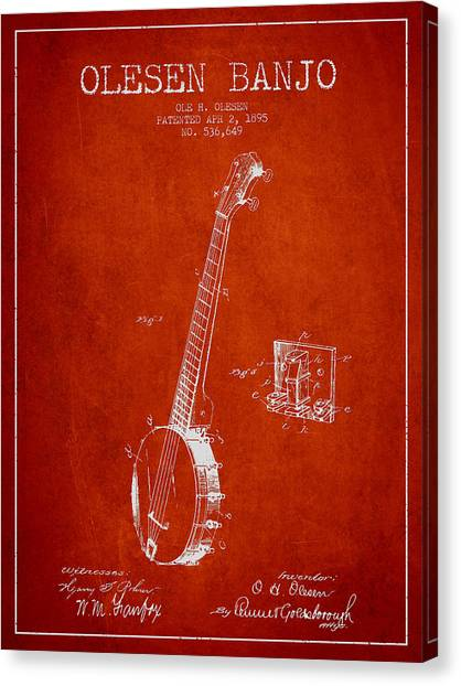 Banjos Canvas Print - Olesen Banjo Patent Drawing From 1895 - Red by Aged Pixel