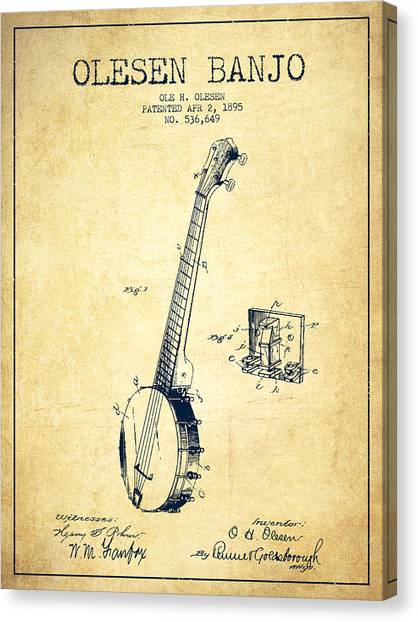 Banjos Canvas Print - Olesen Banjo Patent Drawing From 1895 - Vintage by Aged Pixel
