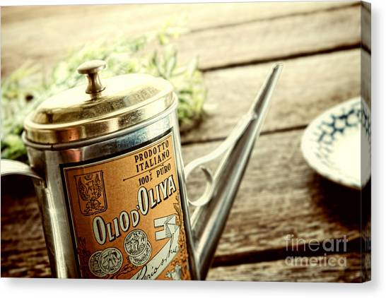 Olive Oil Canvas Print - Olio D'oliva  by Olivier Le Queinec