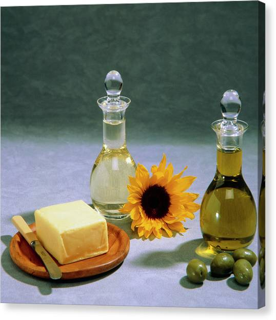 Olive Oil Canvas Print - Olive And Sunflower Oils by Sheila Terry/science Photo Library