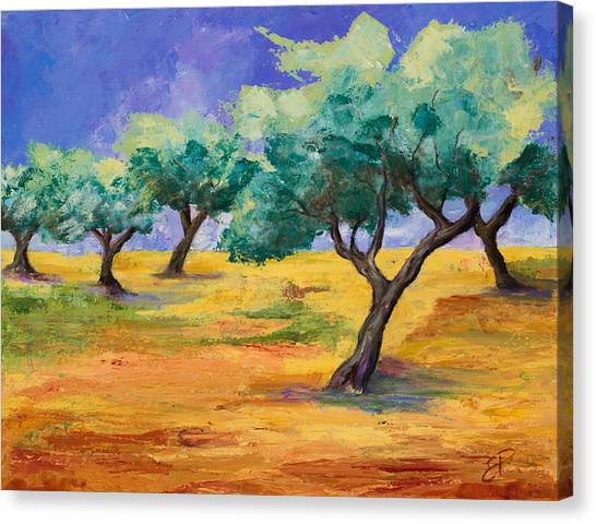 Fauvism Canvas Print - Olive Trees Grove by Elise Palmigiani