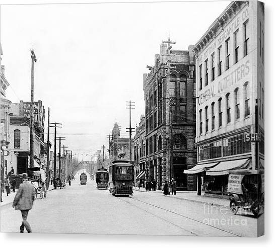 Canvas Print featuring the photograph Olympia Main Street 1917 by Joe Jeffers