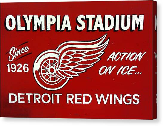 Detroit Red Wings Canvas Print - Olympia Stadium - Detroit Red Wings Sign by Bill Cannon